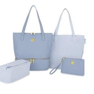 Joy 4pc gray leather dbl Decker tote and wristlet